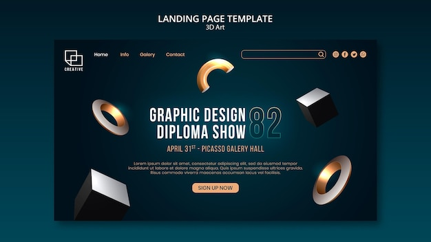 Landing page template for art exhibition with creative three-dimensional shapes Premium Psd