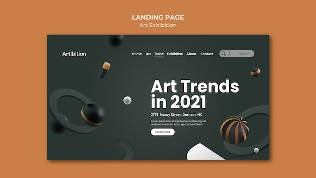 Landing page template for art exhibition with geometric shapes Premium Psd