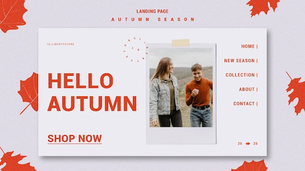 Landing page template for autumn new clothing collection Free Psd