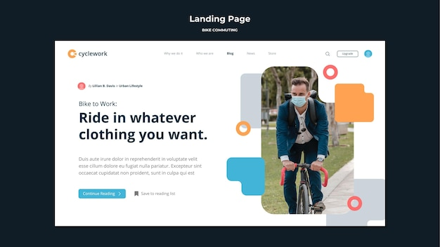 Landing page template for bicycle commuting with male passenger Premium Psd