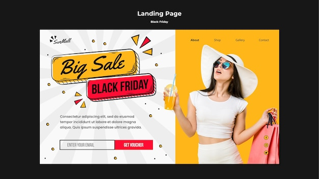 Landing page template for black friday sale Premium Psd