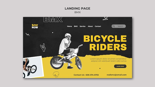 Landing page template for bmx biking with man and bicycle Free Psd