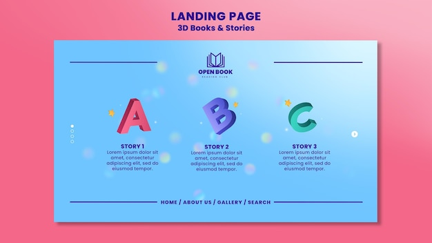 Landing page template for books with stories and letters Premium Psd