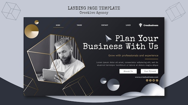 Landing page template for business partnering company Free Psd