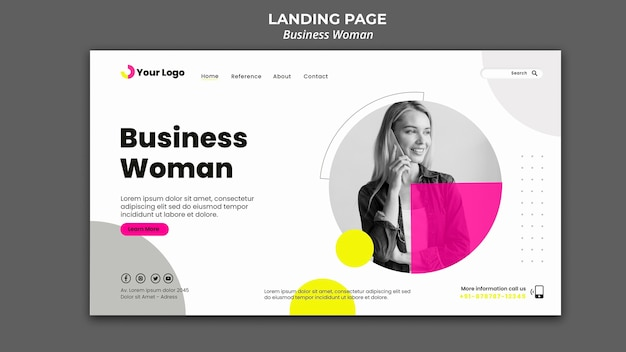 Landing page template for businesswoman Free Psd