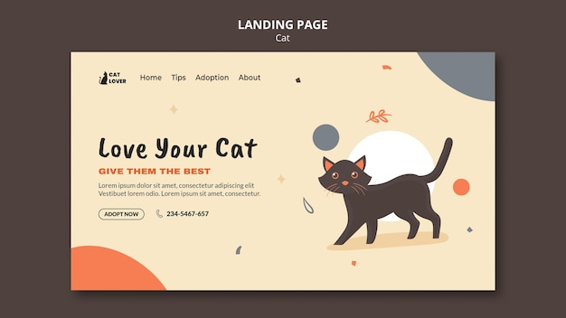 Landing page template for cat adoption Free Psd