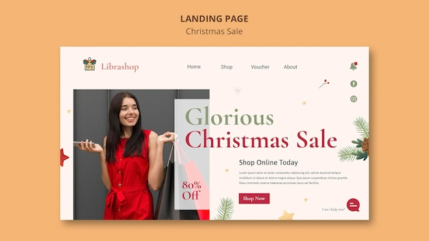 Landing page template for christmas sale Free Psd