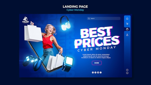 Landing page template for cyber monday with woman and items Free Psd