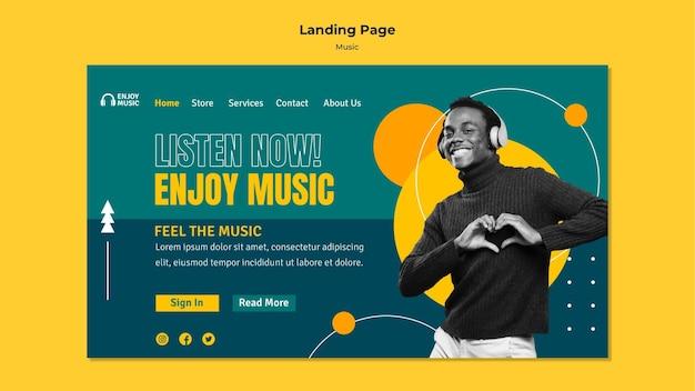 Landing page template for enjoying music Premium Psd