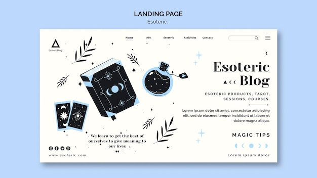 Landing page template for esoteric blog Free Psd