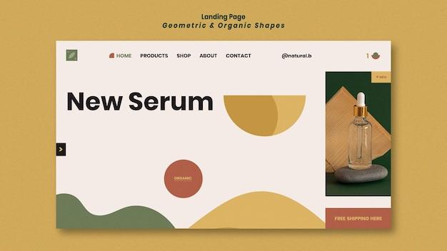 Modello di pagina di destinazione per podio bottiglia di olio essenziale con forme geometriche Psd Gratuite