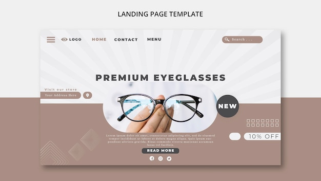 Landing page template for eye glasses company Free Psd