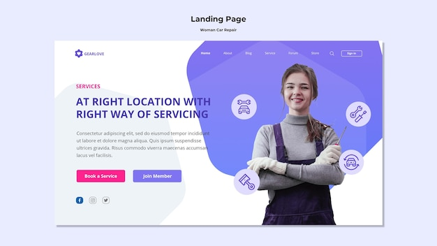 Landing page template for female auto mechanic Premium Psd