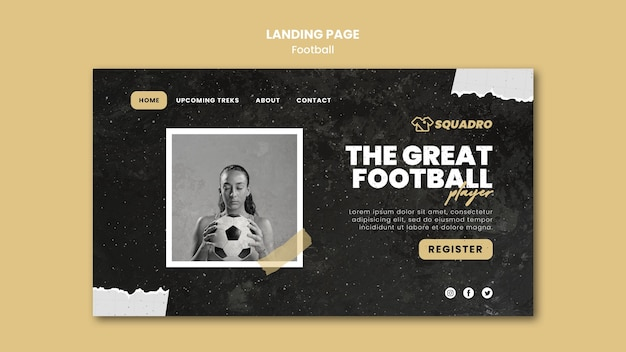 Landing page template for female football player Free Psd