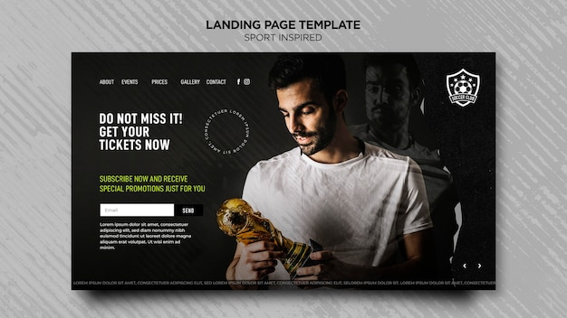 Landing page template for football club Premium Psd