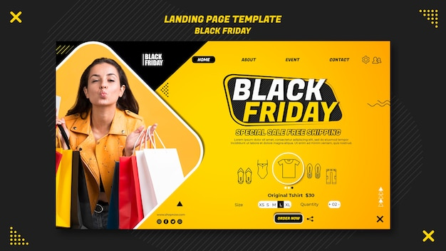 Шаблон целевой страницы для оформления черной пятницы Premium Psd