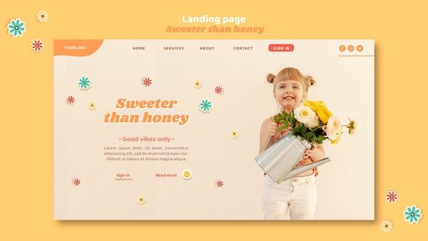 Шаблон целевой страницы для детей с цветами Бесплатные Psd
