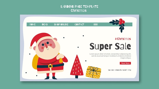 クリスマスショッピングセールのランディングページテンプレート Premium Psd