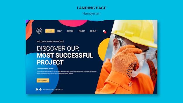 Шаблон целевой страницы для компании, предлагающей услуги разнорабочего Premium Psd