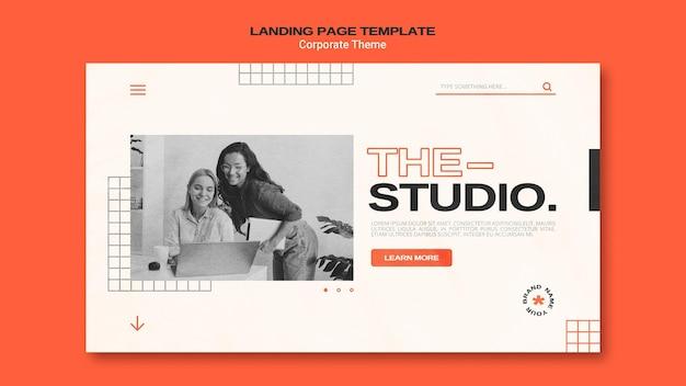 기업 스튜디오 용 랜딩 페이지 템플릿 프리미엄 PSD 파일