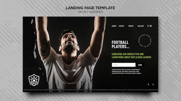 축구 클럽의 방문 페이지 템플릿 프리미엄 PSD 파일