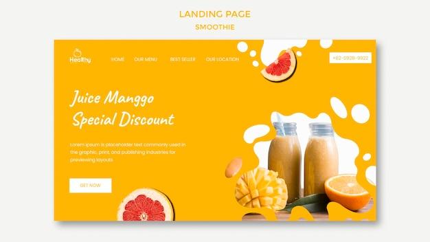 건강한 과일 스무디를위한 방문 페이지 템플릿 프리미엄 PSD 파일