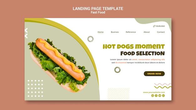 Шаблон целевой страницы для ресторана хот-догов Premium Psd