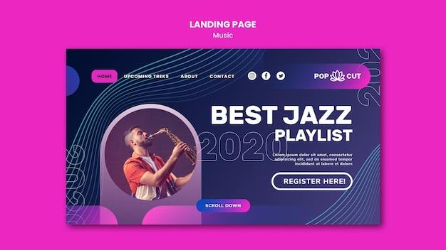 남성 재즈 플레이어와 색소폰으로 음악을위한 방문 페이지 템플릿 프리미엄 PSD 파일