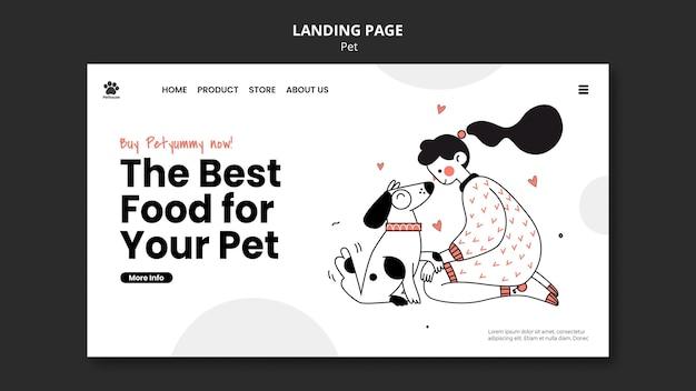 여성 소유자와 애완 동물이있는 국가 애완 동물의 날 방문 페이지 템플릿 프리미엄 PSD 파일