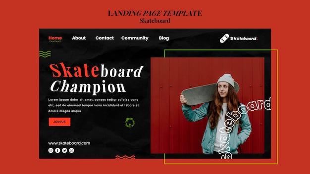 여자와 스케이트 보드를위한 방문 페이지 템플릿 프리미엄 PSD 파일