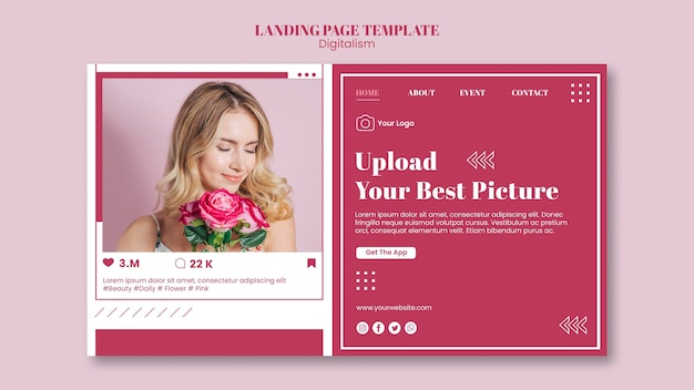 Шаблон целевой страницы для загрузки фотографий в социальные сети Premium Psd