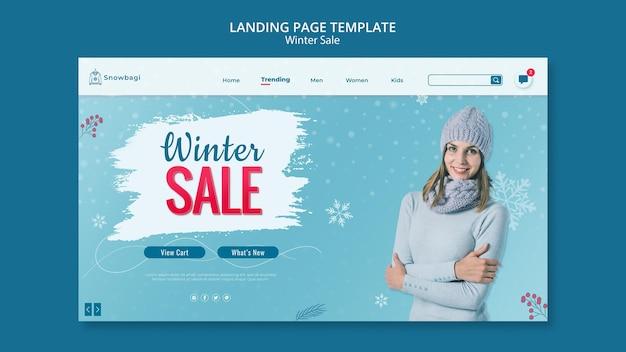 女性と雪片との冬の販売のためのランディングページテンプレート Premium Psd