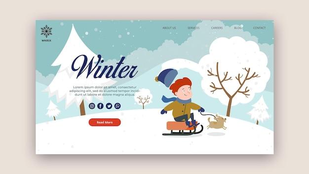 Шаблон целевой страницы на зиму Бесплатные Psd