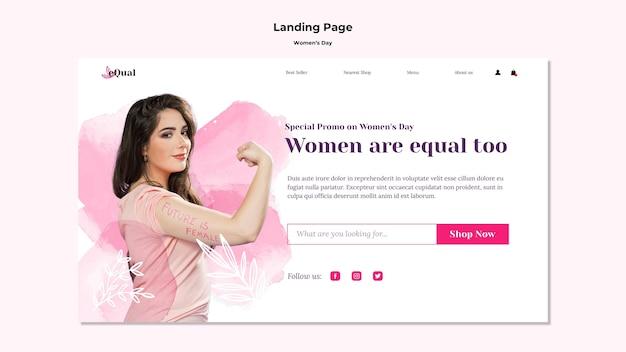 여성의 날 축하를위한 방문 페이지 템플릿 프리미엄 PSD 파일