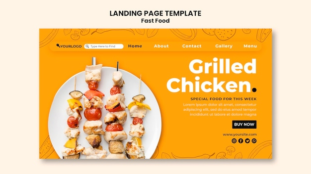 Premium Psd Landing Page Template For Fried Chicken Dish