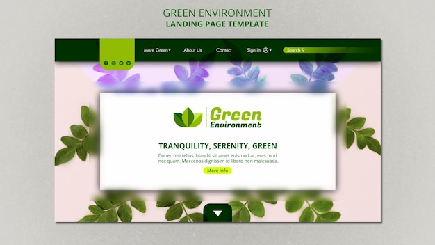 Landing page template for green environment Premium Psd