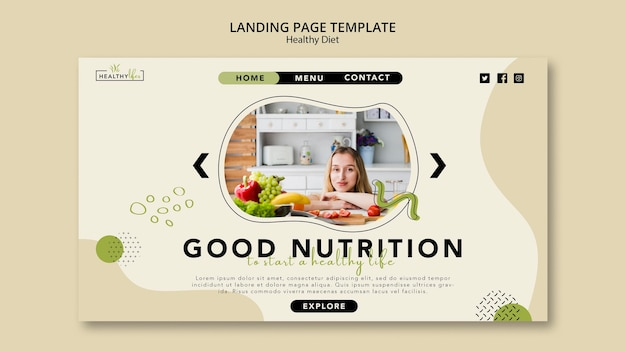 Landing page template for healthy diet with vegetables Free Psd