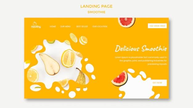 Modello di pagina di destinazione per frullati di frutta sani Psd Gratuite