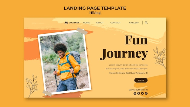 Landing page template for hiking Premium Psd