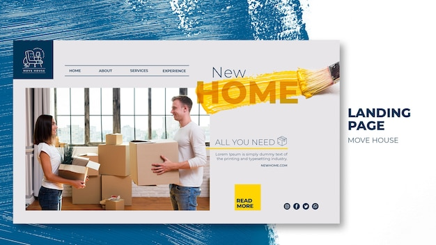Landing page template for home relocation services Free Psd