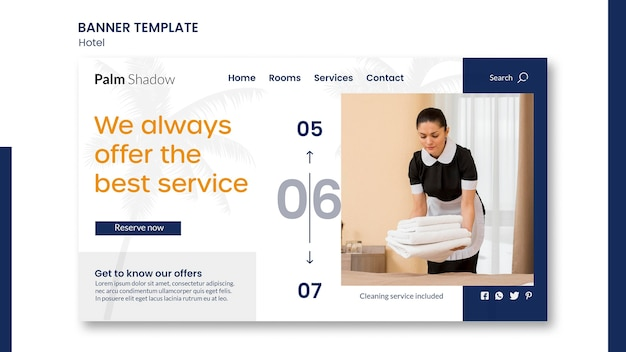 Landing page template for hotel reservation Free Psd