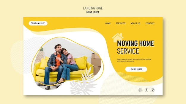 Landing page template for house relocation services Free Psd