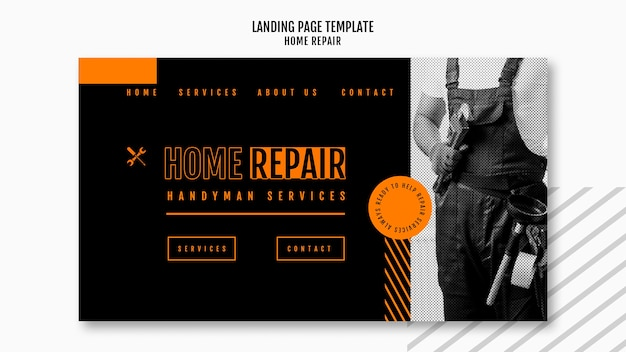 Landing page template for house repair company Free Psd