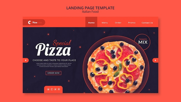 Landing page template for italian food restaurant Free Psd