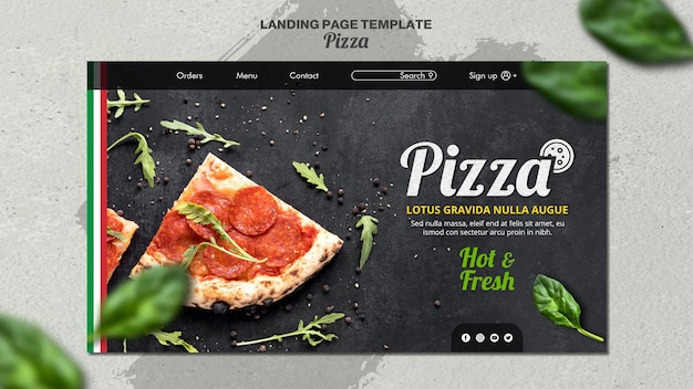Landing page template for italian pizza restaurant Free Psd