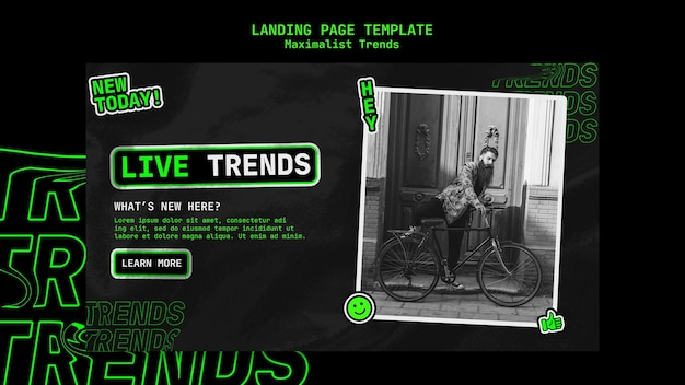 Landing page template for maximalist trend Premium Psd