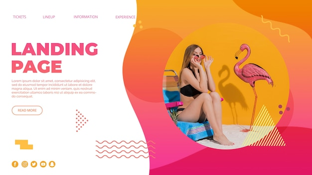 Landing page template in memphis style with summer concept Free Psd