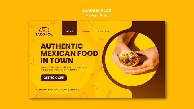 Landing page template for mexican food restaurant Free Psd