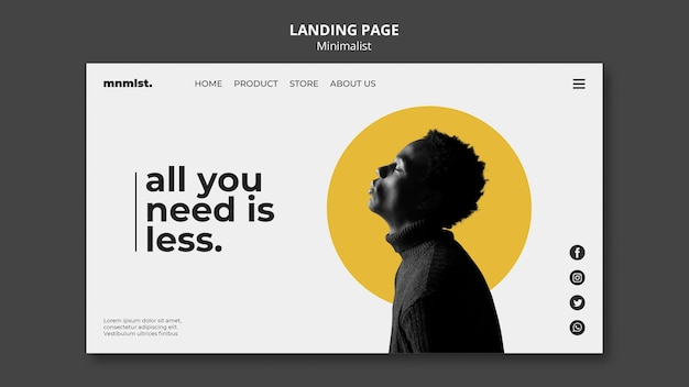 Landing page template in minimal style for art gallery with man Premium Psd