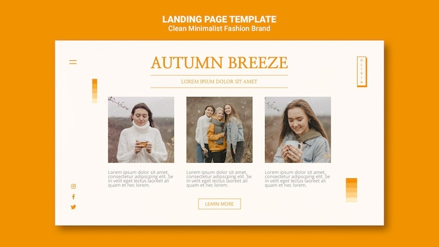 Landing page template for minimalist autumn fashion brand Free Psd